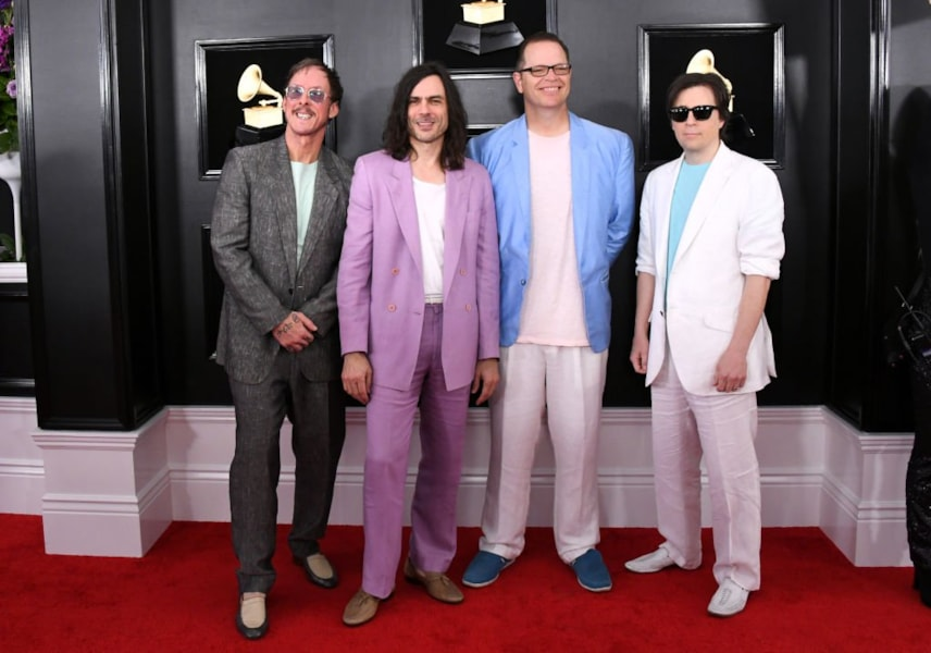 LOS ANGELES, CALIFORNIA - FEBRUARY 10: (L-R) Scott Shriner, Brian Bell, Patrick Wilson, and Rivers Cuomo of Weezer attend the 61st Annual GRAMMY Awards at Staples Center on February 10, 2019 in Los Angeles, California. (Photo by Jon Kopaloff/Getty Images)