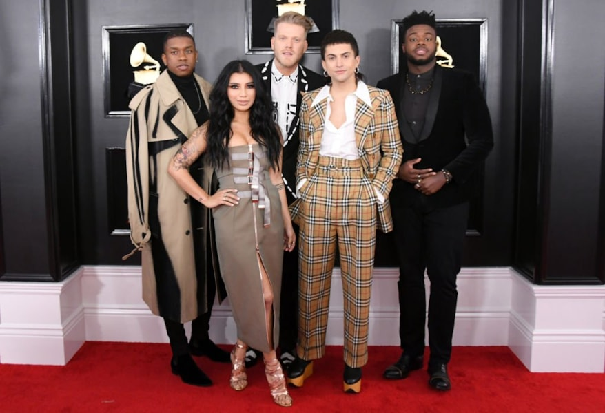 LOS ANGELES, CALIFORNIA - FEBRUARY 10: Music group Pentatonix attends the 61st Annual GRAMMY Awards at Staples Center on February 10, 2019 in Los Angeles, California. (Photo by Jon Kopaloff/Getty Images)