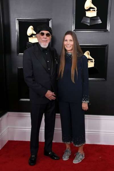 LOS ANGELES, CALIFORNIA - FEBRUARY 10: Lou Adler and Page Hannah attend the 61st Annual GRAMMY Awards at Staples Center on February 10, 2019 in Los Angeles, California. (Photo by Jon Kopaloff/Getty Images)