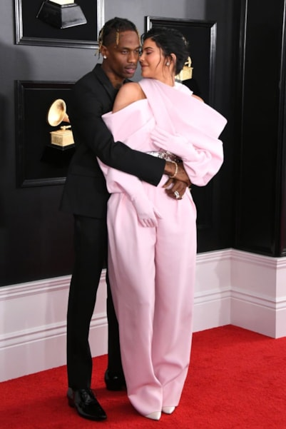 LOS ANGELES, CALIFORNIA - FEBRUARY 10: Travis Scott and Kylie Jenner attend the 61st Annual GRAMMY Awards at Staples Center on February 10, 2019 in Los Angeles, California. (Photo by Jon Kopaloff/Getty Images)