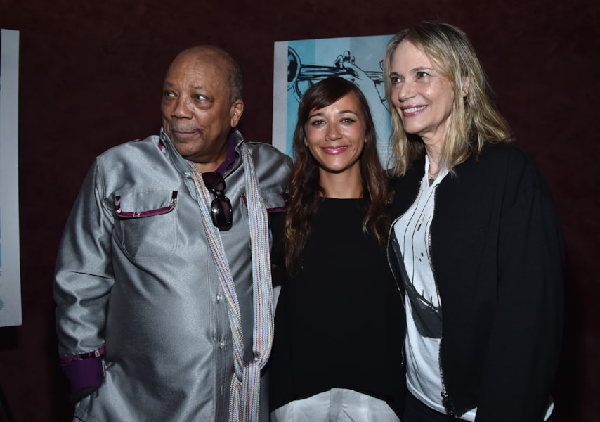 """LOS ANGELES, CA - SEPTEMBER 17:  Producer Quincy Jones, actress Rashida Jones and actress Peggy Lipton arrive to the premiere of RADIUS-TWC's """"Keep On Keepin' On"""" at Landmark Theatre on September 17, 2014 in Los Angeles, California.  (Photo by Alberto E. Rodriguez/Getty Images)"""