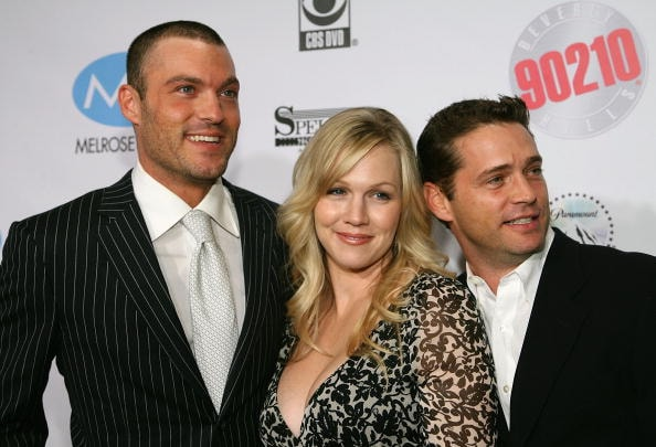 "Brian Austin Green, Jennie Garth and Jason Priestley will all appear on a ""90210"" reboot."